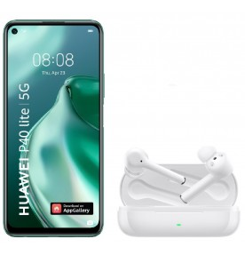 Telefon mobil Huawei P40 Lite 5G , Dual Sim, 128GB, 6GB, Crush Green + Casti audio Huawei FreeBuds 3i, Ceramic White
